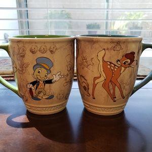 Authentic Disney store Classic Bambi & Jiminy mugs